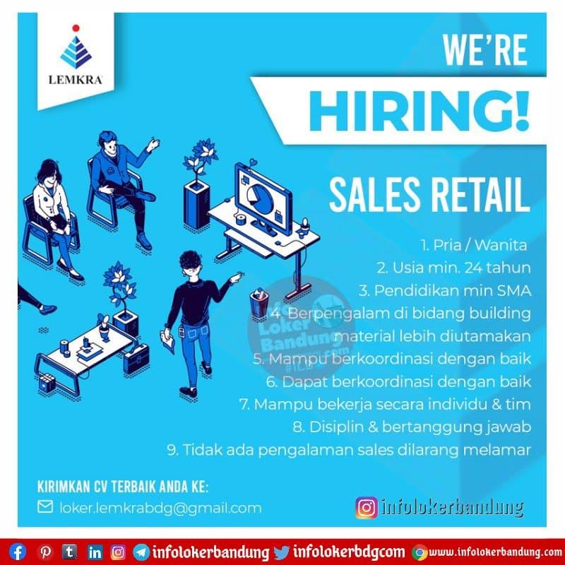 Lowongan Kerja Sales Retail LEMKRA Bandung April 2021