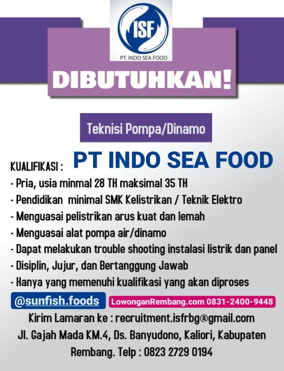 Lowongan Kerja Teknisi Pompa Dinamo PT Indo Sea Food Desa Banyudono Kecamatan Kaliori Kabupaten Rembang