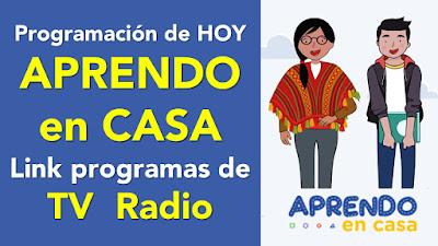 Conoce la programación de esta semana de APRENDO EN CASA Link de los programas de TV y Radio
