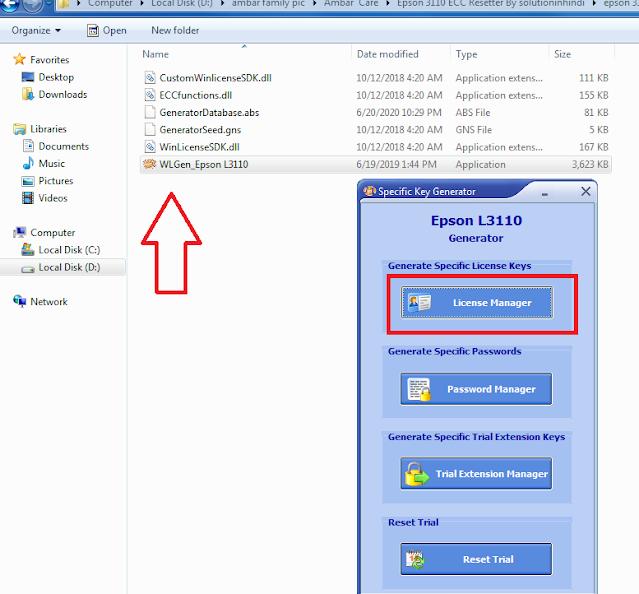 EPSON L3100,L3101,L3110,L3115,L3116,L3150 Resetter Download Red Light Blink Solution