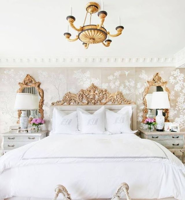 """Winter Garden"" sets the mood in this chic bedroom by Jamie Herzlinger Interiors"