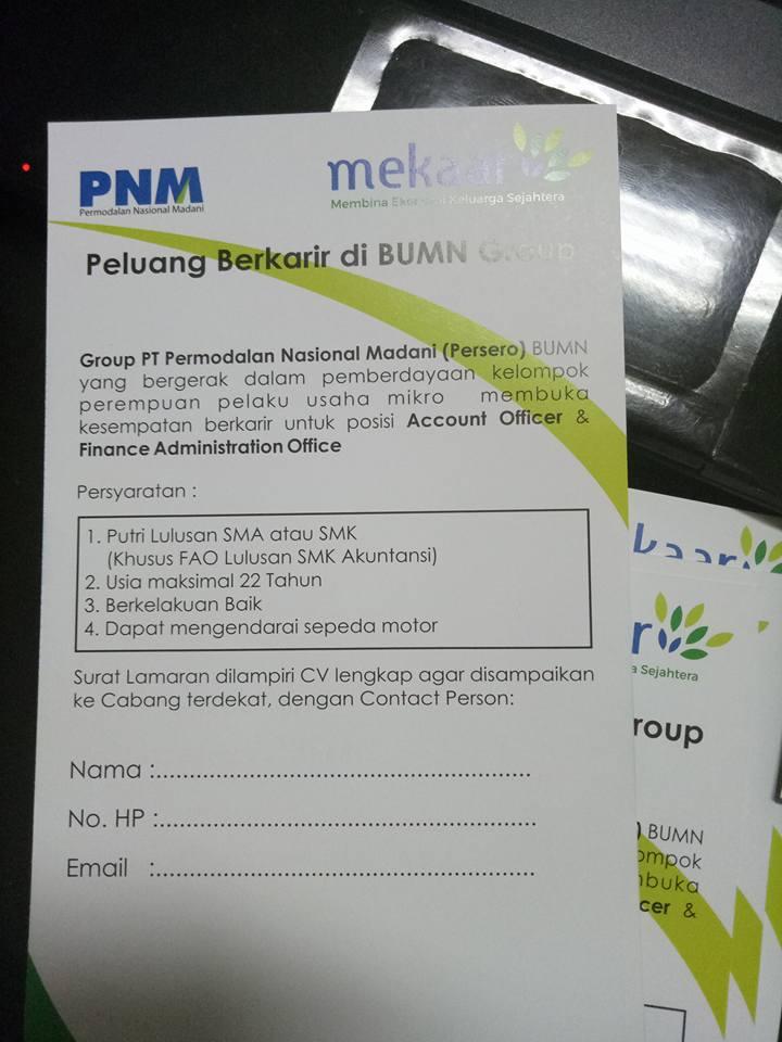 Lowongan Kerja  PT. Permodalan Nasional Madani (Persero) – 2 Posisi (Januari 2017)
