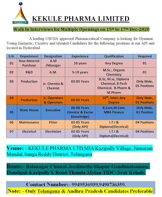 KEKULE PHARMA LIMITED WalkIn Interviews for Multiple Openings in Production R andD Departments on 15th to 17th Dec 2020