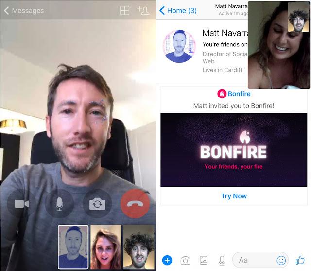 Ứng dụng Bonfire: app của facebook cho phép gọi video với nhiều hiệu ứng