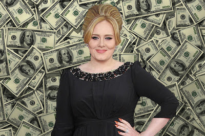 adele, money, rich, dollars
