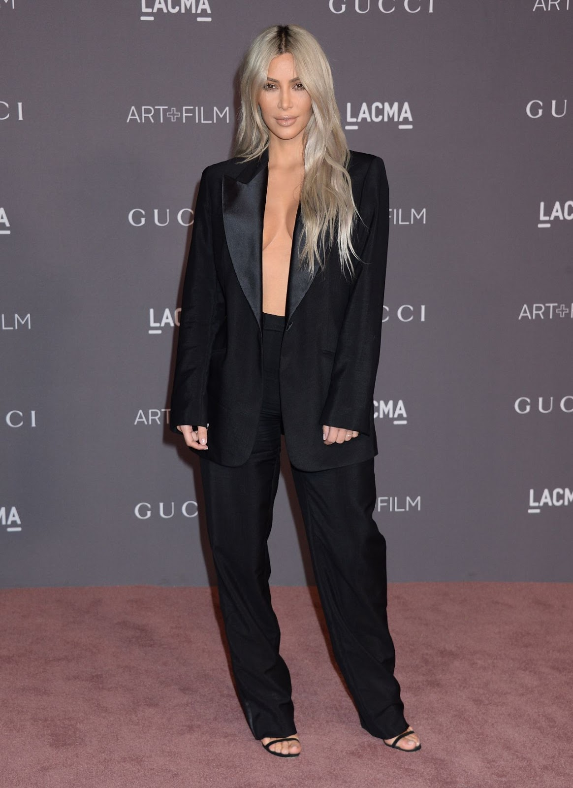 Kim Kardashian gives an eyeful of cleavage at the 2017 LACMA Art + Film Gala