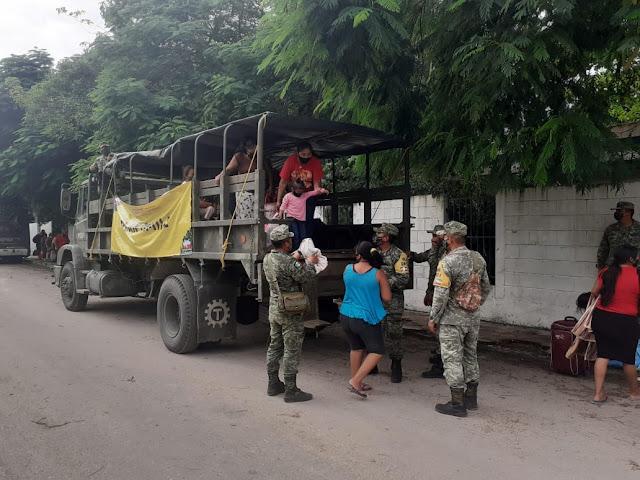 Ejército Mexicano participa en la evacuación de personas en Las Coloradas, San Felpe y Río Lagartos