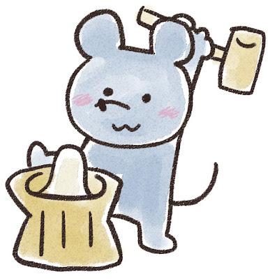 餅つきをするネズミのイラスト(子年)