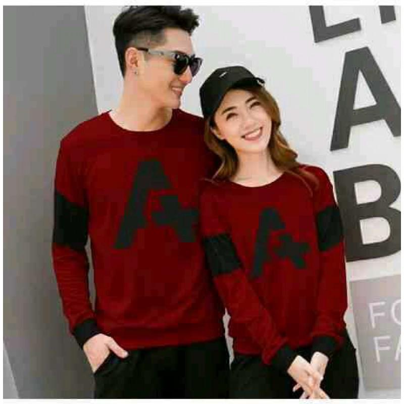 Jual Online Sweater Alpha Neo Maroon Couple Murah Jakarta Bahan Babytery Terbaru