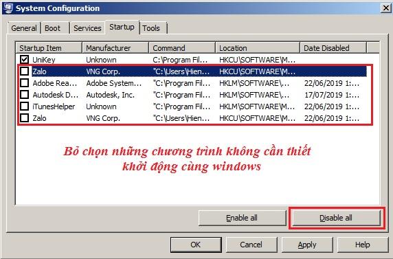Tắt các chương trình chạy thường trú khi windows khởi động