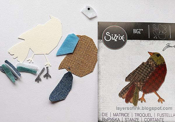 Layers of ink - Winter Bird Tutorial by Anna-Karin Evaldsson. Die cut the bird from fabric.