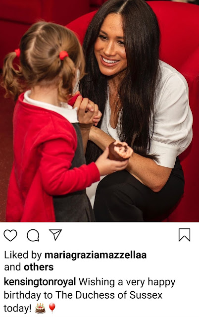 Members of the Royal Family have taken to Instagram and Twitter to post photos of the Duchess of Sussex and to wish Meghan a very Happy Birthday 2020. Here are copies of a couple of the posts, one by the Queen and the other from the Duke and Duchess of Cambridge.2