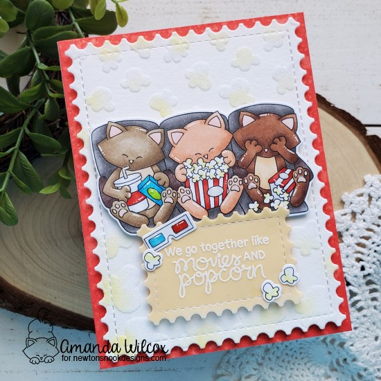 Movie Night Card by Amanda Wilcox |   Newton's Movie Night Stamp Set , Popcorn Stencil and Framework Die Set by Newton's Nook Designs #newtonsnook #handmade