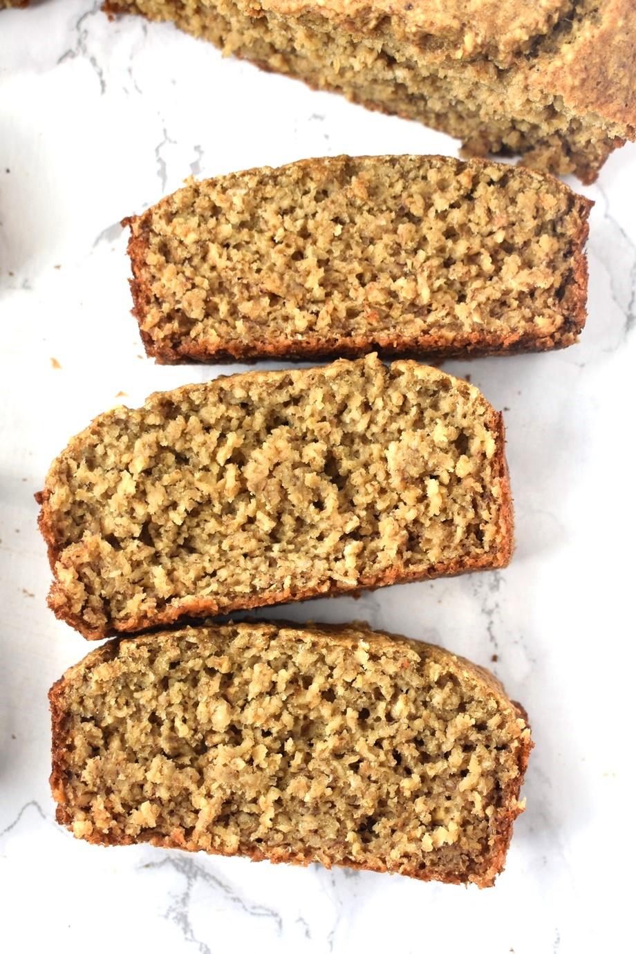 Oatmeal banana bread slices