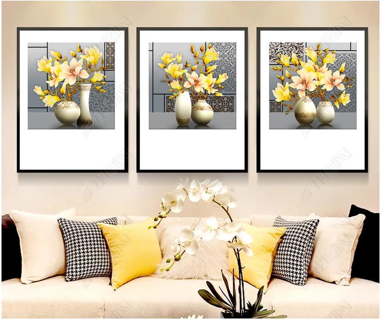 Tranh bộ treo tường hoa ngọc lan cho phòng khách phòng ngủ