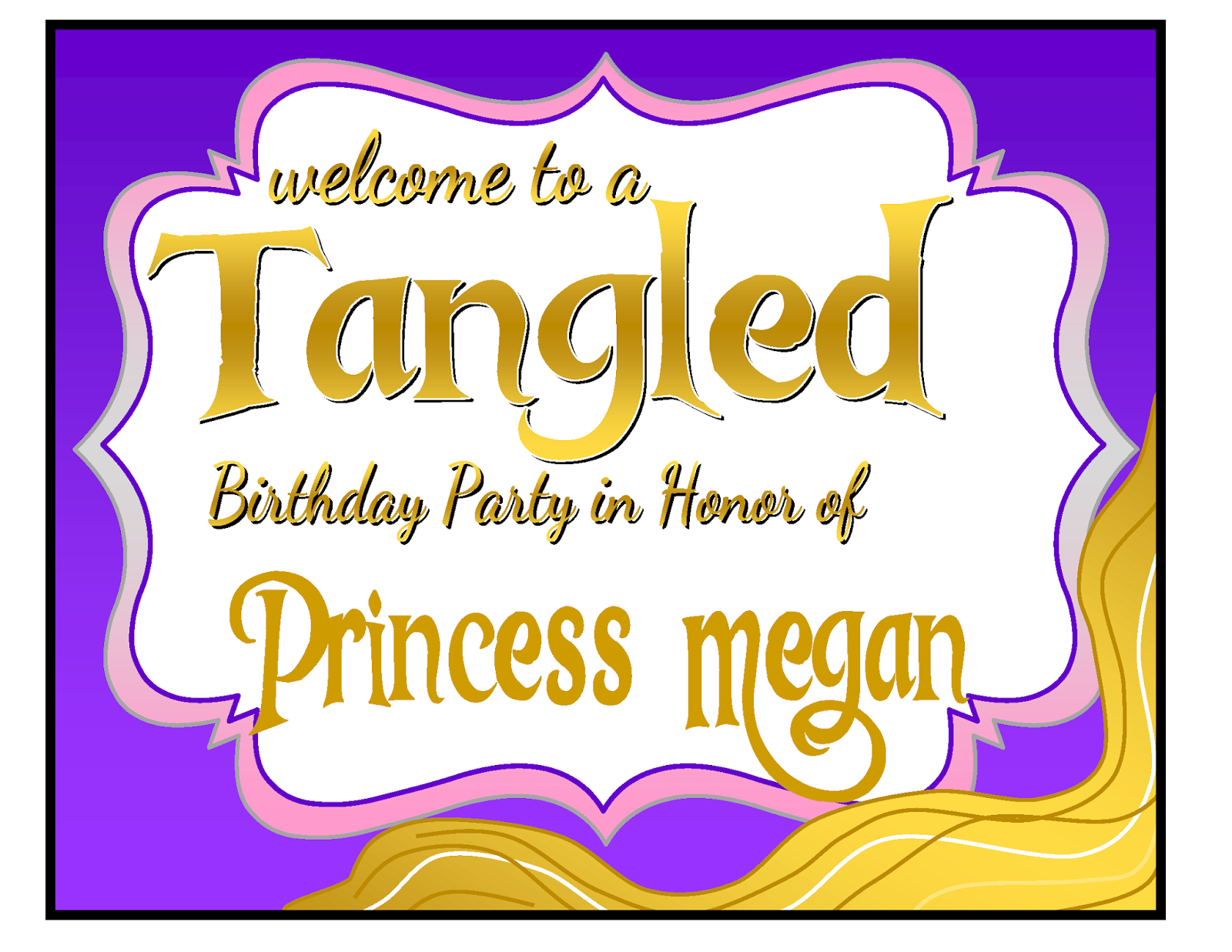 Tangled Rapunzel Birthday Party Package - One Willis Family