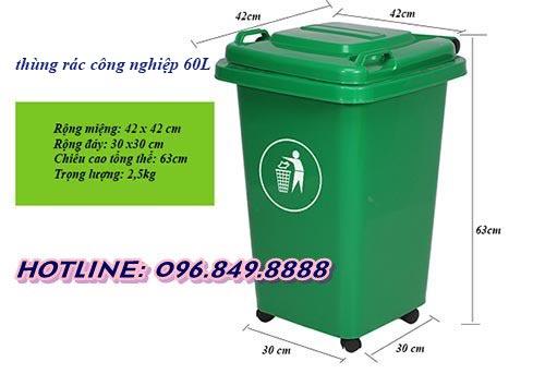 Kích thước thùng rác 60l