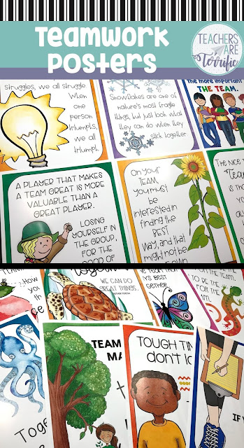 Poster Set all about working as a team. The set includes 15 posters with bright colors and fabulous quotes!