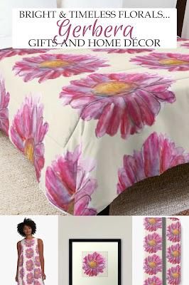 Gorgeous pink gerbera illustrated design