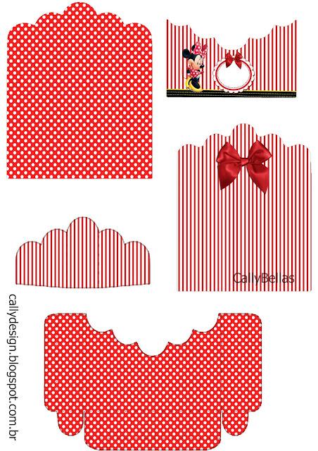 Soporte para Golosinas para Imprimir Gratis de Minnie en Rayas Rojas.