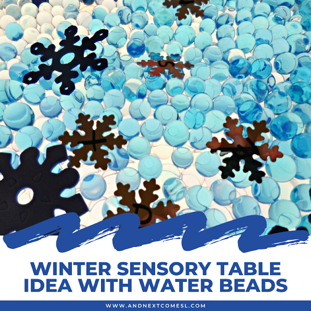 Water beads sensory bin on a light sensory table