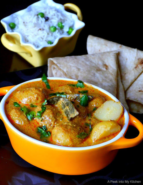 Kashmiri Dum Aloo / Baby Potatoes Cooked in Spicy Yogurt Sauce ~ Day 60
