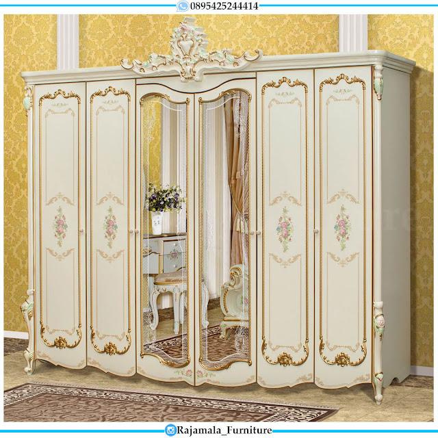 Desain Lemari Pakaian Mewah Pintu 6 Luxury Palace Style Furniture Jepara RM-0554