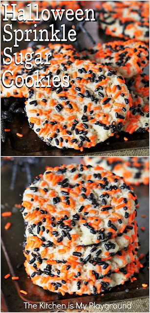 Halloween Sprinkle Sugar Cookies ~ Tender, chewy sugar cookies coated in Halloween-themed sprinkles make for one super tasty Halloween sweet treat! These fun cookies are sure to be loved by all. -- I mean, who doesn't love sprinkles, right?  www.thekitchenismyplayground.com
