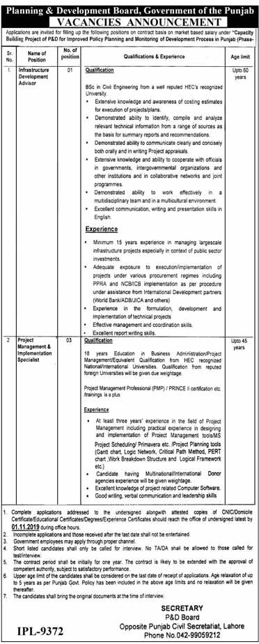 Jobs in Planning & Development Board October 2019