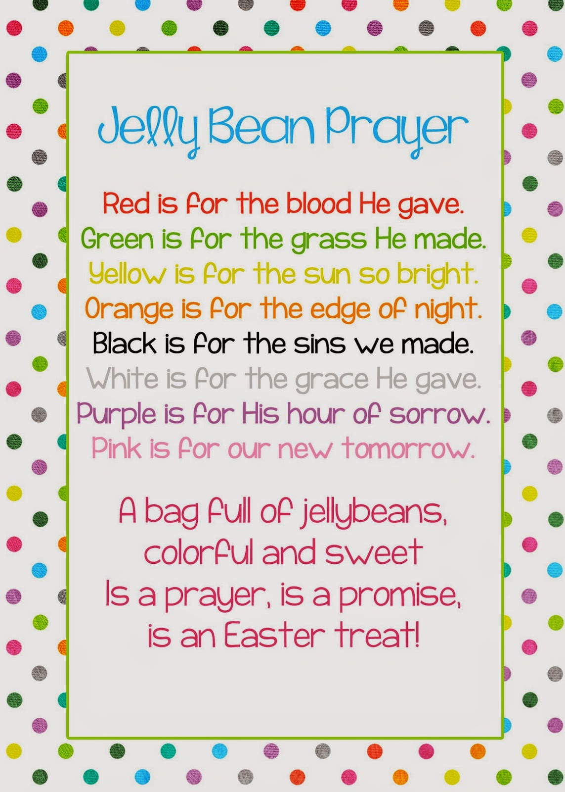 A Pocket Full Of Lds Prints Jelly Bean Prayer Poem