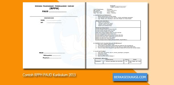 Contoh RPPH PAUD Kurikulum 2013 Tahun 2019-2020
