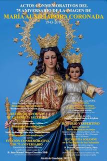 La Archicofradia de Maria Auxiliadora celebrara los Actos Conmemorativos del 75 Aniversario de su Imagen Alcalá de Guadaira