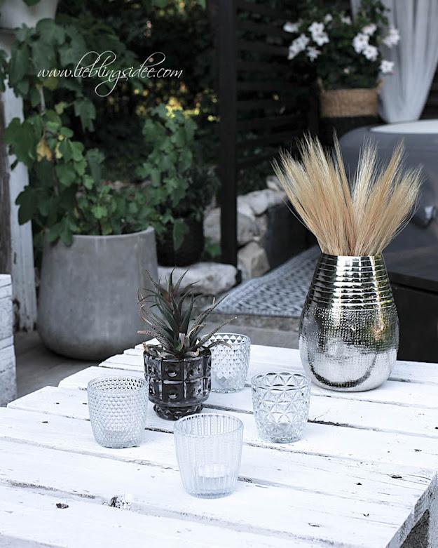 Tischdeko Vase silber Garten Windlichter Gartendeko Lieblingsidee