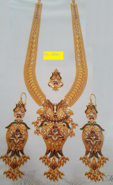 Gold Long Necklace designs with weight