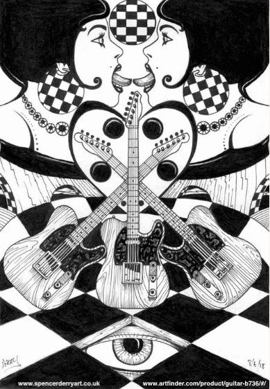 Buy Original Art • Guitar (2018) Drawing by Spencer J. Derry on Artfinder
