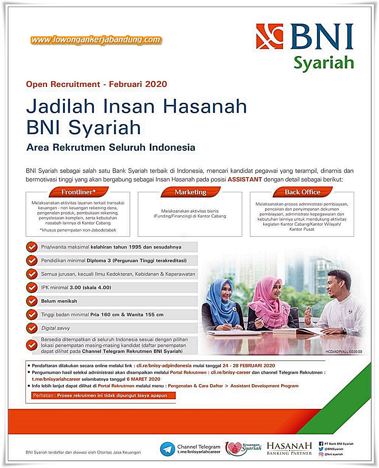 Lowongan Kerja Bandung Karyawan BNI Syariah Bandung ...