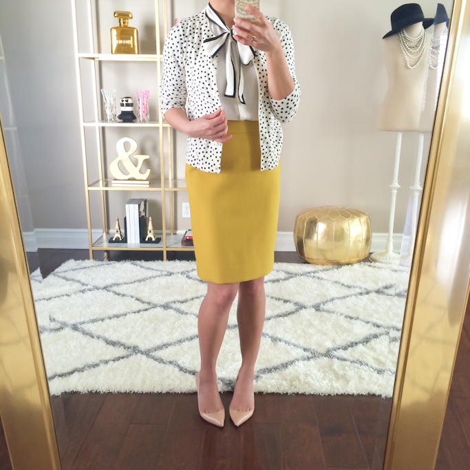 ef4801d0d 2 double serge chartreuse wool pencil skirt Loft tipped bow neck blouse  polka