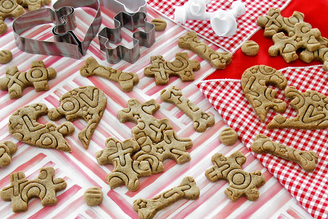 Stamped Valentine's Day jigsaw puzzle piece homemade dog treats