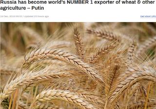 러시아 세계 밀 수출 1위 국가, 미국 캐나다 제치고 국제 밀 시장 최대 공급자. 유전자조작(GMO) 배격, 고품질 유기농 식품 생산
