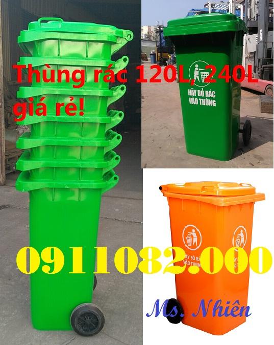 Chuyên phân phối thùng rác nhựa, thùng rác 120 lít giá rẻ hòa phú- vĩnh long