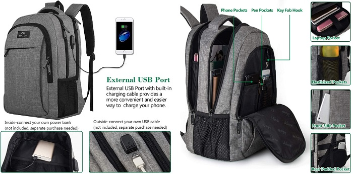 Matein Anti-Theft Backpack with USB Charging Port