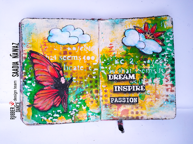 Art journal spread with Rubber Dance stamps, acrylic paints