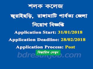 Rangamati Jurachory Upazila Sholok College Job Circular 2018