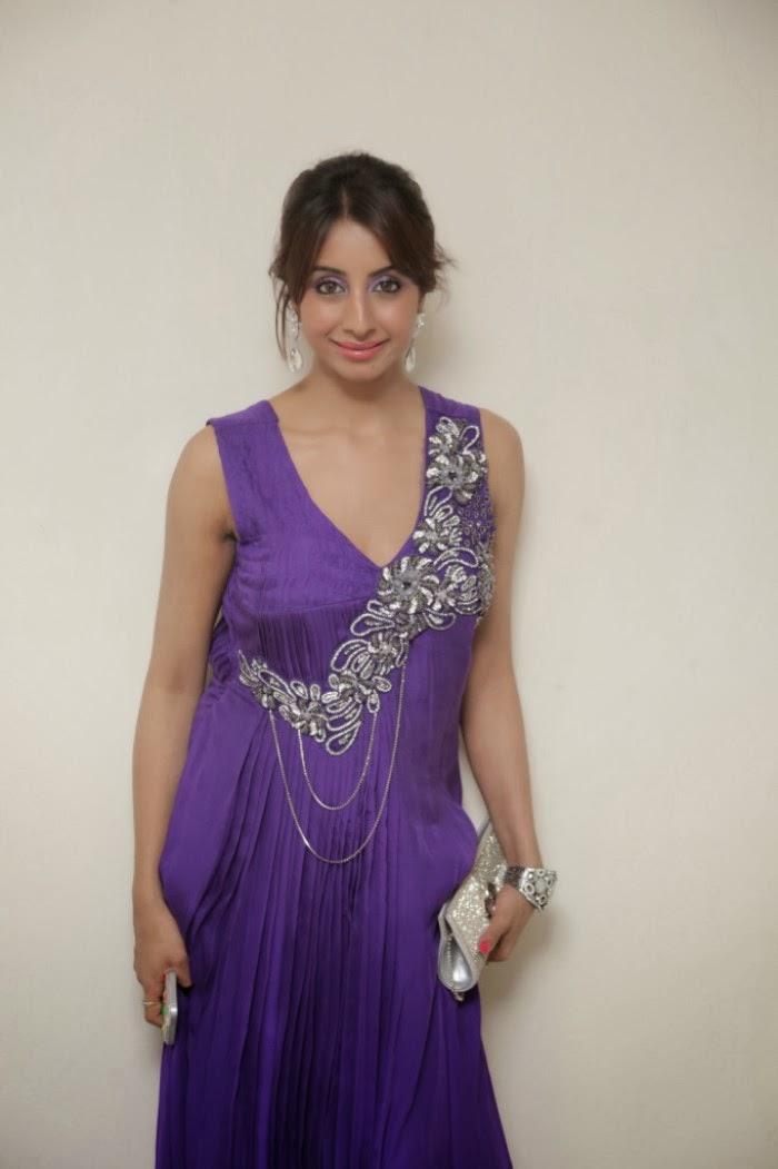 Sparkling Sanjana latest photos in sleevless purple long dress