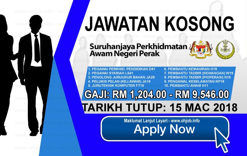 Jawatan Kerja Kosong Suruhanjaya Perkhidmatan Awam Negeri Perak logo www.ohjob.info mac 2018