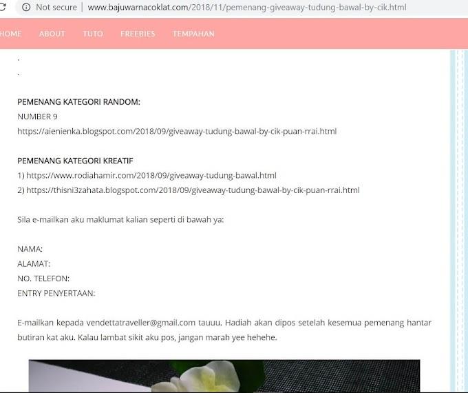 Rezeki Menang Hadiah Giveaway Tudung Bawal By Cik Puan Rrai