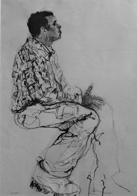 brush drawing of man in flannel shirt and workboots