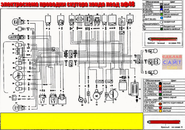 Электросхема проводки Хонда леад аф48 с обозначениями