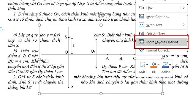 Hướng dẫn chọn More Layout Options để đặt trạng thái cho hình vẽ