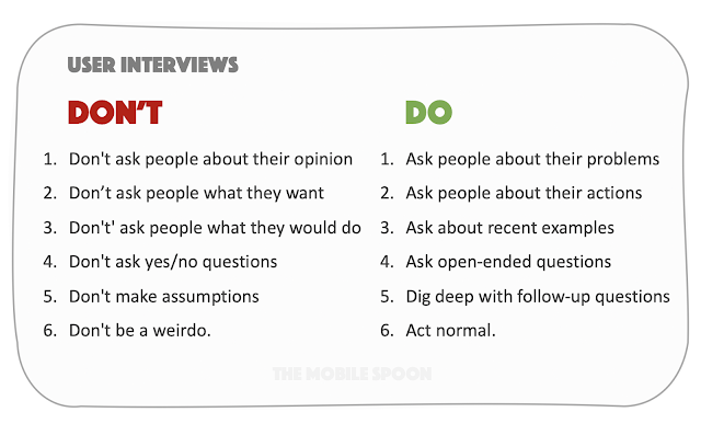 User interviews do's and don'ts - the mobile spoon